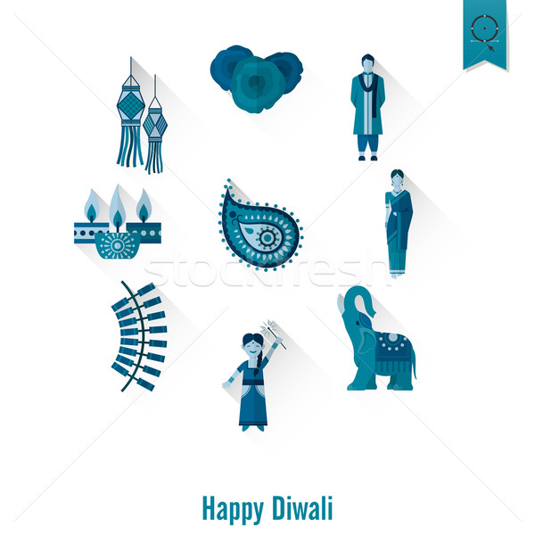 Diwali indian festival iconen eenvoudige Stockfoto © HelenStock