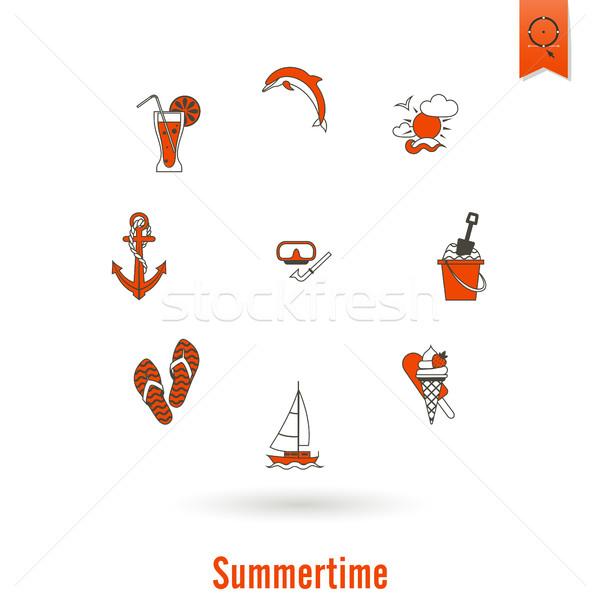 лет пляж простой иконки путешествия отпуск Сток-фото © HelenStock