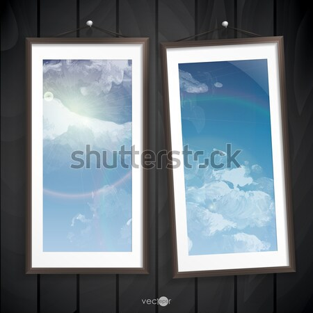 Two  Frames Of Picture On A Striped Old Wall Stock photo © HelenStock