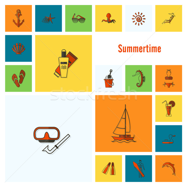 Stock photo: Summer and Beach Simple Flat Icons