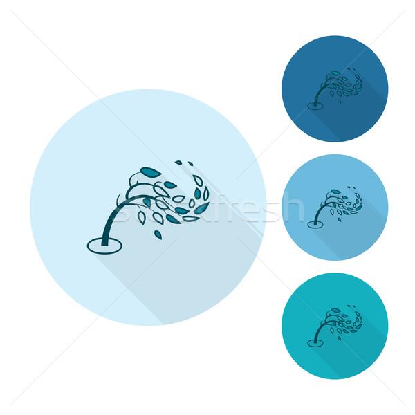 ツリー 風 秋 アイコン 単純な ストックフォト © HelenStock