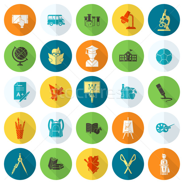 Iskola oktatás ikonok ikon gyűjtemény terv stílus Stock fotó © HelenStock