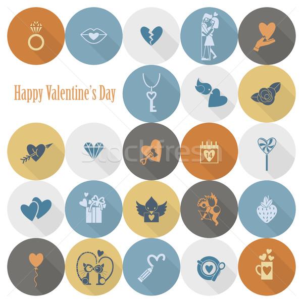 ストックフォト: 幸せ · バレンタインデー · アイコン · 単純な · コレクション · 結婚式