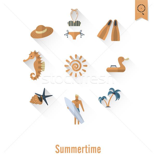 Nyár tengerpart egyszerű ikonok utazás vakáció Stock fotó © HelenStock