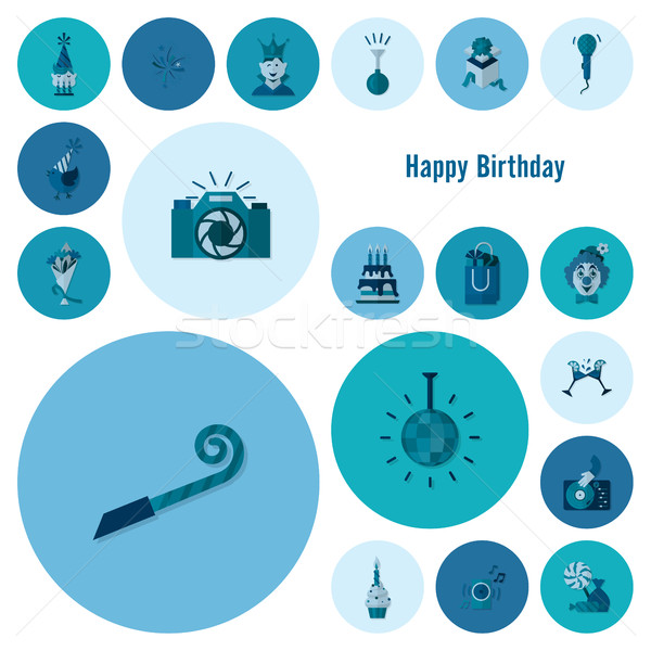 Happy Birthday Icons Set Stock photo © HelenStock