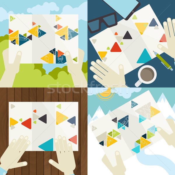 Set Of Flat Design Concept Icons For Business Stock photo © HelenStock