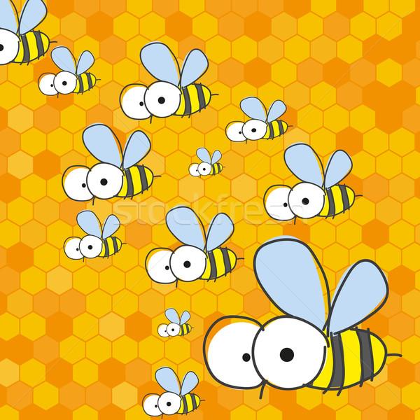 Pszczół plaster miodu eps słońce zdrowia tle Zdjęcia stock © HelenStock