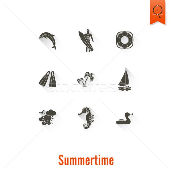 Verão praia simples ícones viajar férias Foto stock © HelenStock