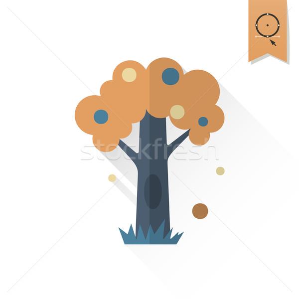 Stilizált fa üreges ősz ikon egyszerű Stock fotó © HelenStock