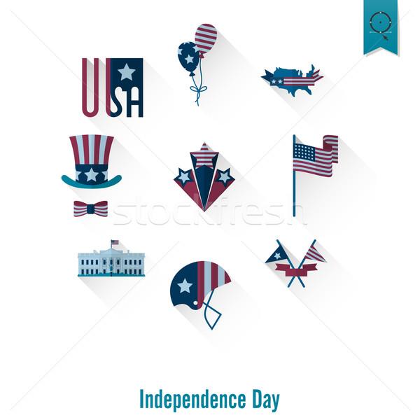 Stockfoto: Dag · Verenigde · Staten · eenvoudige · iconen · vector