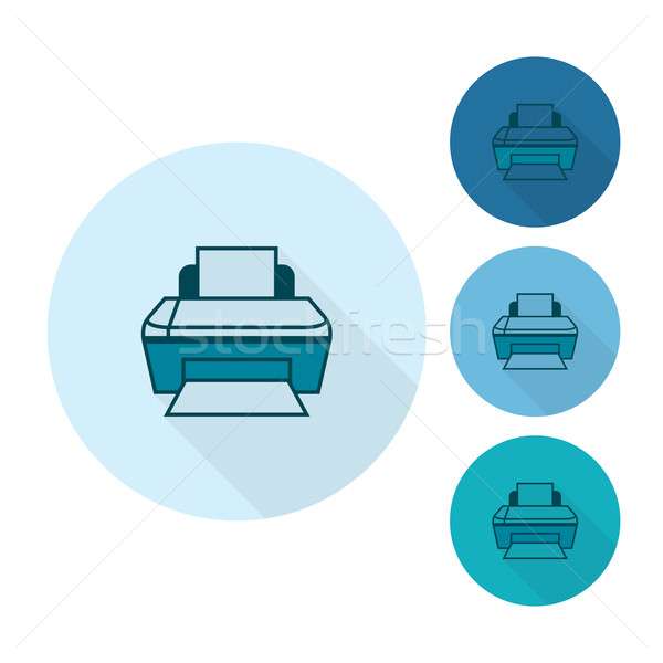 Printer business financieren icon eenvoudige Stockfoto © HelenStock