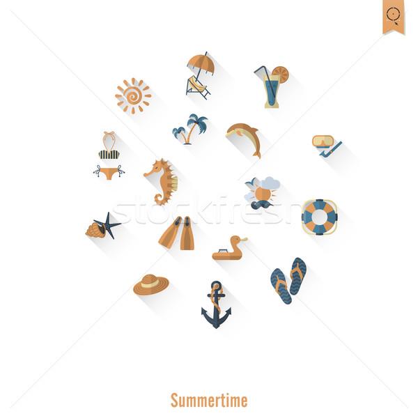 Foto stock: Verão · praia · simples · ícones · viajar · férias