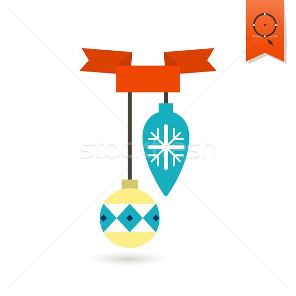 Stok fotoğraf: Noel · top · şerit · renkli · ikon · kar