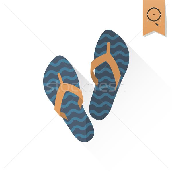 été plage simple icône vecteur design Photo stock © HelenStock