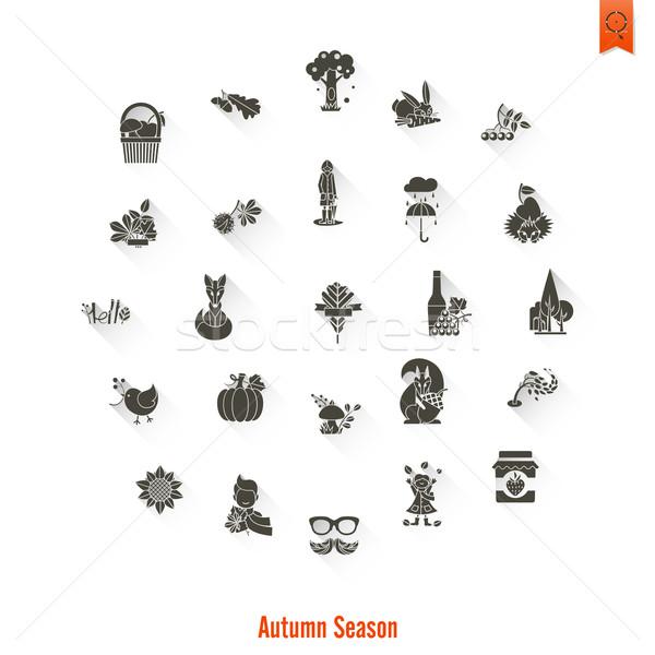 Set Herbst Symbole einfache Stock foto © HelenStock
