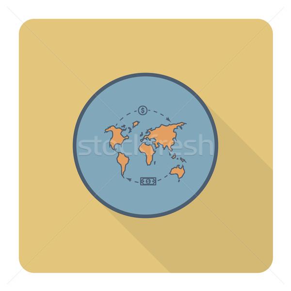 Világtérkép pénz üzlet pénzügy ikon egyszerű Stock fotó © HelenStock