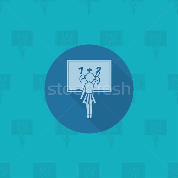 école éducation icônes icône fille écrit Photo stock © HelenStock