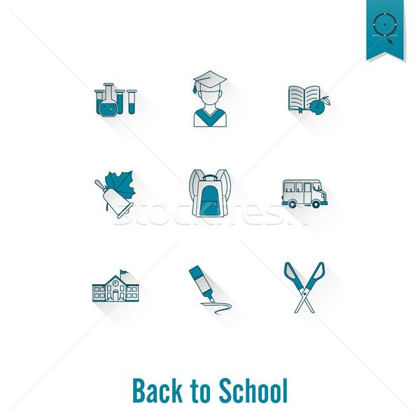 Escuela educación iconos diseno estilo Foto stock © HelenStock
