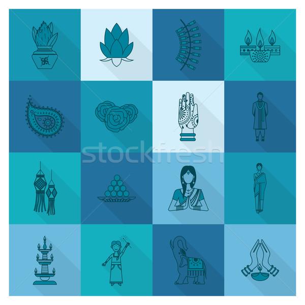 Дивали индийской фестиваля иконки простой Сток-фото © HelenStock