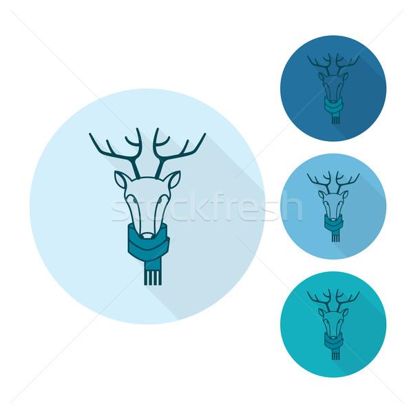 Karácsony rénszarvas monokróm szín vektor hosszú Stock fotó © HelenStock