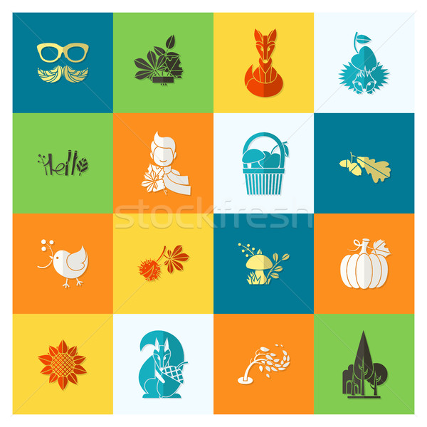 Conjunto outono ícones simples Foto stock © HelenStock