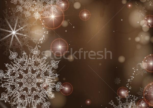 Bruin sneeuwvlokken eps 10 abstract natuur Stockfoto © HelenStock
