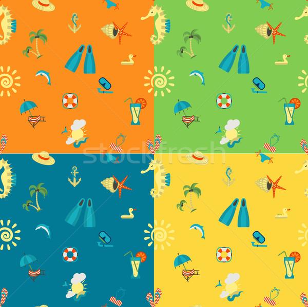 Dört farklı renkler yaz plaj vektör Stok fotoğraf © HelenStock