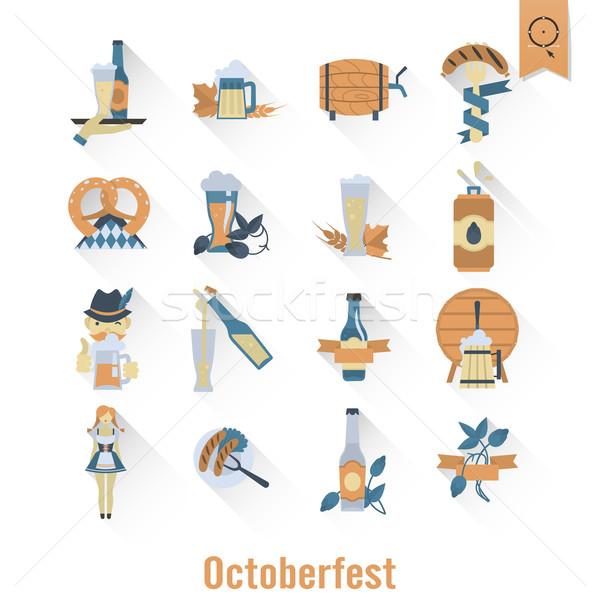 Oktoberfest bier festival lang schaduw ontwerp Stockfoto © HelenStock