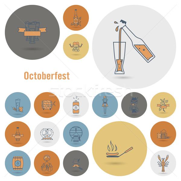 Oktoberfest bier festival ontwerp stijl vector Stockfoto © HelenStock