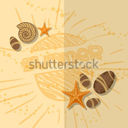 Tarjeta de felicitación plantilla de diseño eps 10 playa papel Foto stock © HelenStock