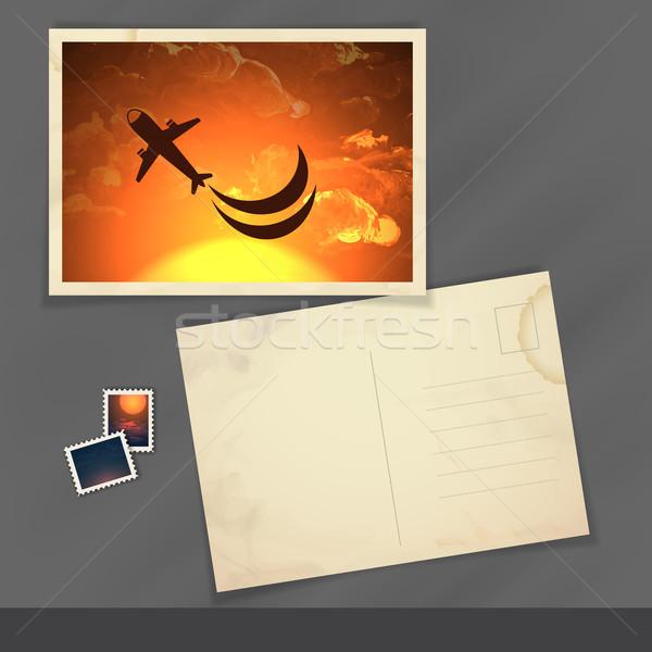 Oude briefkaart ontwerpsjabloon eps 10 hemel Stockfoto © HelenStock