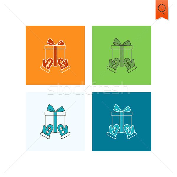 Karácsony ajándék doboz vektor színes felirat doboz Stock fotó © HelenStock