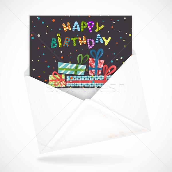 Tebrik kartı renkli doğum günü mutlu soyut arka plan Stok fotoğraf © HelenStock