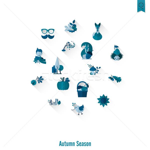 Zestaw jesienią ikona proste Zdjęcia stock © HelenStock