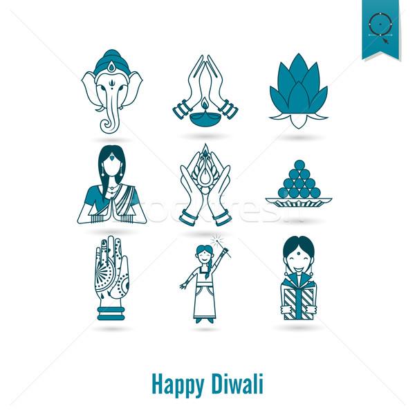 Diwali indiai fesztivál ikonok egyszerű minimalista Stock fotó © HelenStock