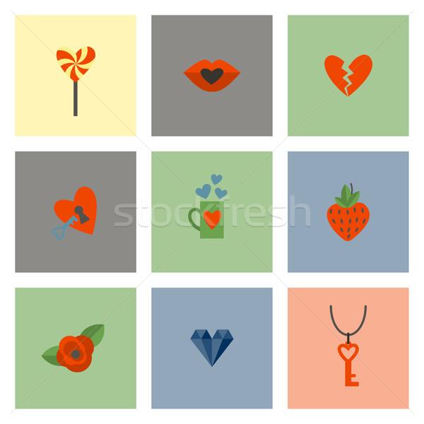 Gelukkig valentijnsdag iconen eenvoudige collectie bruiloft Stockfoto © HelenStock