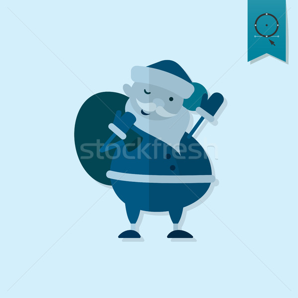 Cute Santa Claus with Big Gifts Bag Stock photo © HelenStock