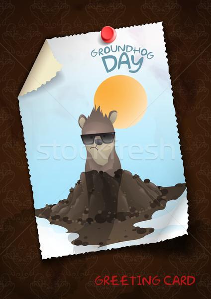 Mutlu gün tebrik kartı tasarım şablonu eps 10 Stok fotoğraf © HelenStock