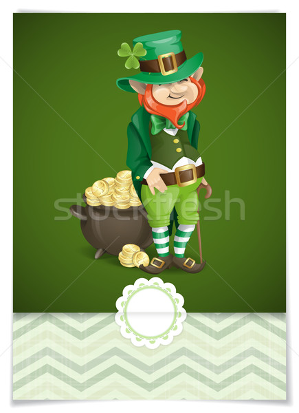 St. Patrick's Day. Leprechaun With Pot Of Gold. Stock photo © HelenStock