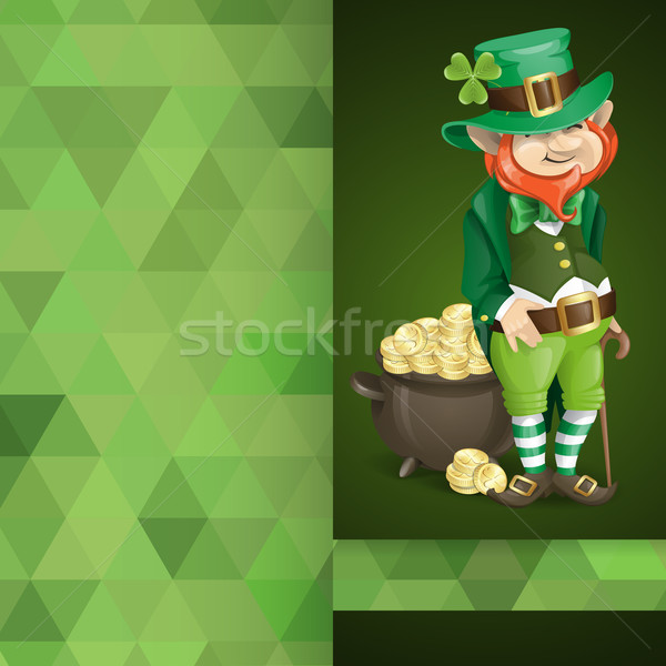 Leprechaun With Pot Of Gold. Stock photo © HelenStock