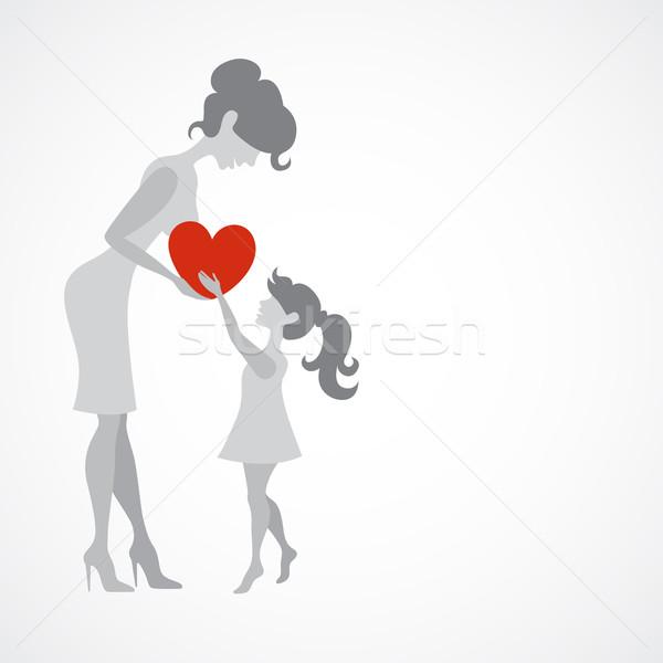 Feliz mãe menina coração criança fundo Foto stock © HelenStock