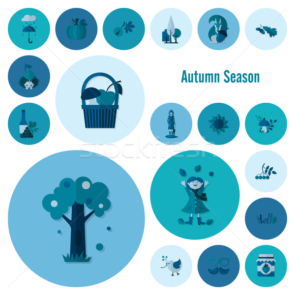 Set of Flat Autumn Icons Stock photo © HelenStock