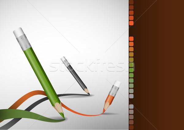 Foto d'archivio: Colore · matite · disegno · linee · eps · 10