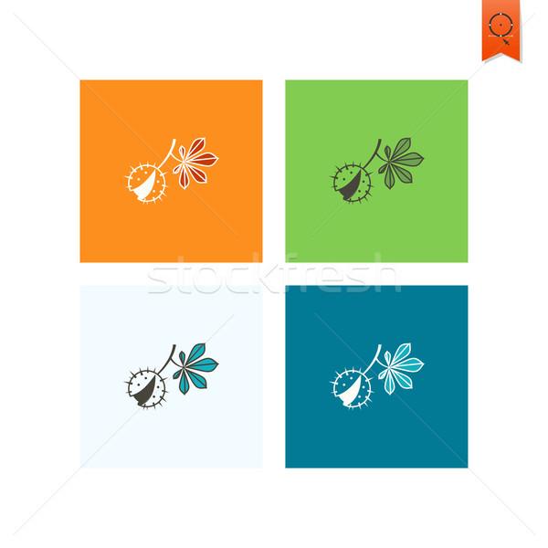 ストックフォト: 栗 · 葉 · 秋 · アイコン · 単純な