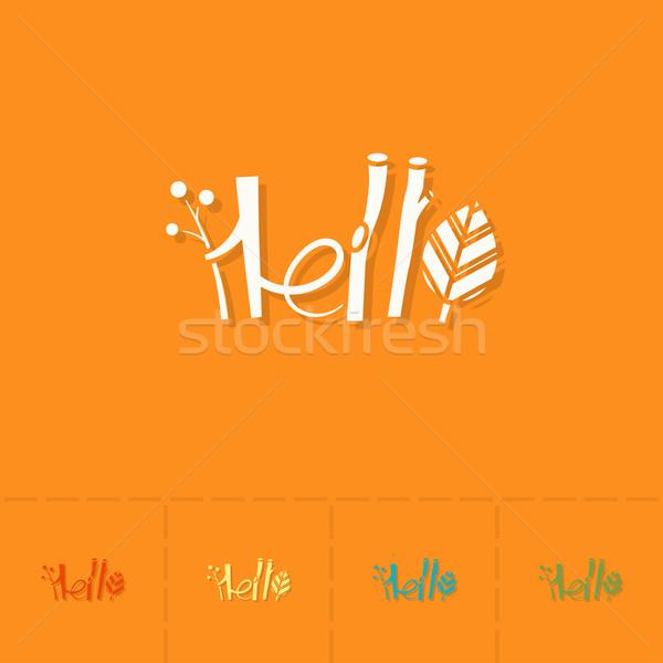 Merhaba stilize metin sonbahar ikon basit Stok fotoğraf © HelenStock
