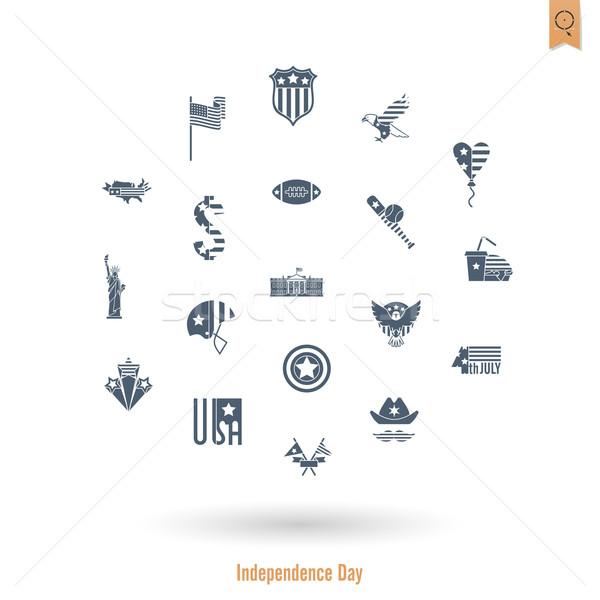 ストックフォト: 日 · 米国 · 単純な · アイコン · ベクトル