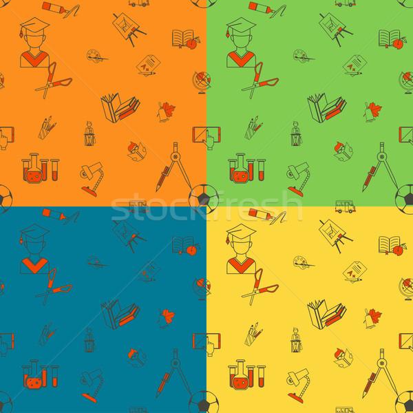 Volver a la escuela escuela cuatro diferente colores Foto stock © HelenStock