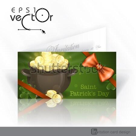 聖パトリックの日 ポット 金 グリーティングカード eps 10 ストックフォト © HelenStock