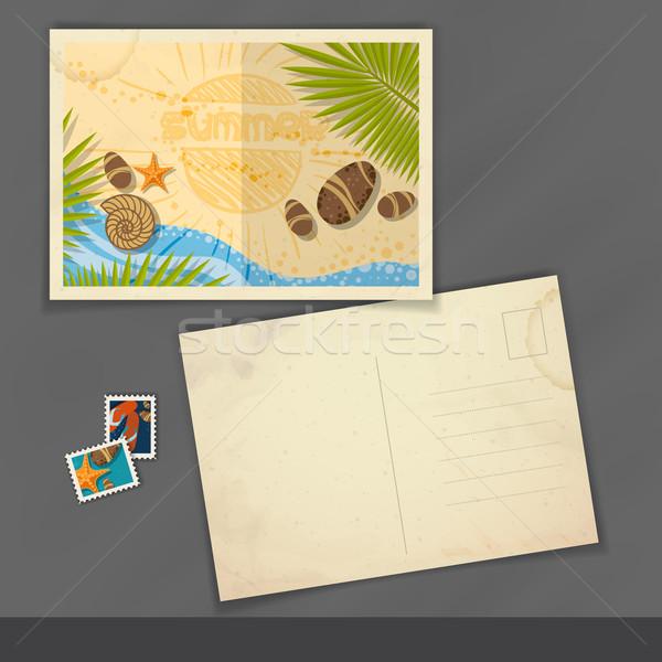 Stok fotoğraf: Eski · kartpostal · tasarım · şablonu · eps · 10 · plaj