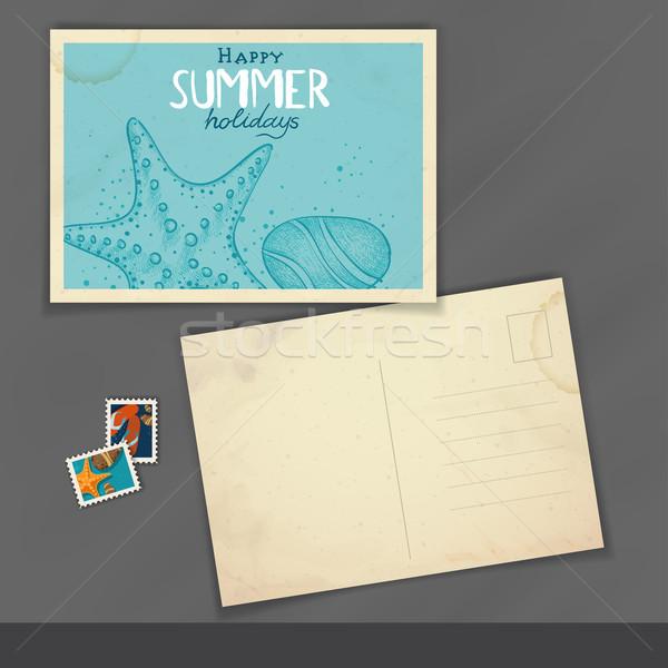Oude briefkaart ontwerpsjabloon eps 10 strand Stockfoto © HelenStock